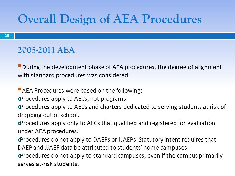 Overall Design of AEA Procedures 2005-2011 AEA  During the development phase of AEA procedures, the degree of alignment with standard procedures was considered.