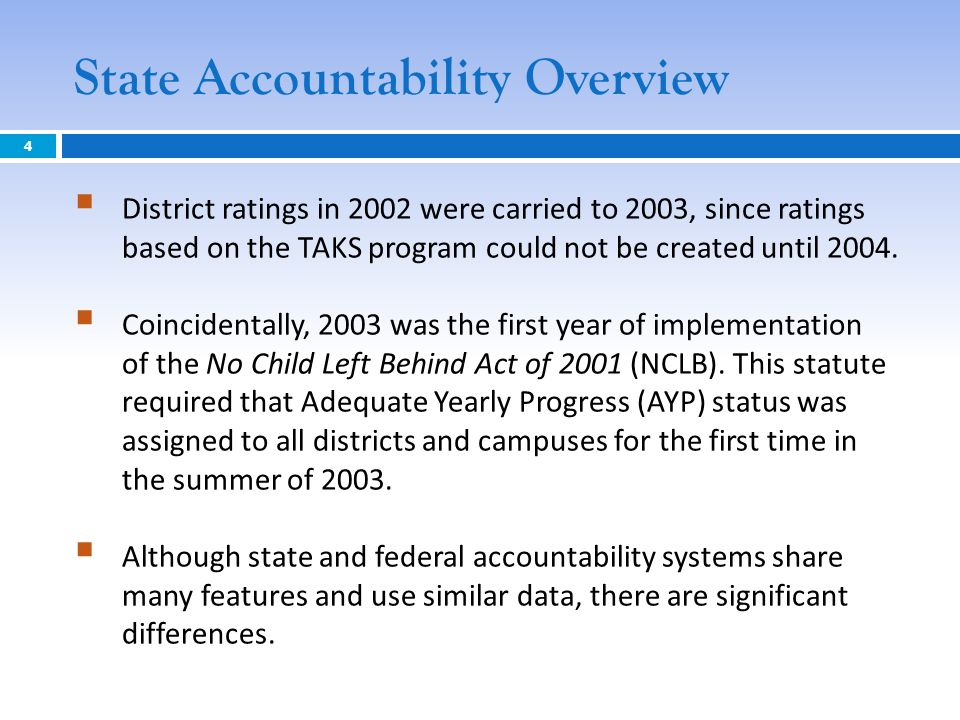 State Accountability Overview  District ratings in 2002 were carried to 2003, since ratings based on the TAKS program could not be created until 2004.