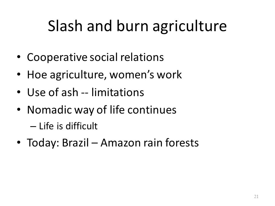 Slash and burn agriculture Cooperative social relations Hoe agriculture, women's work Use of ash -- limitations Nomadic way of life continues – Life is difficult Today: Brazil – Amazon rain forests 21