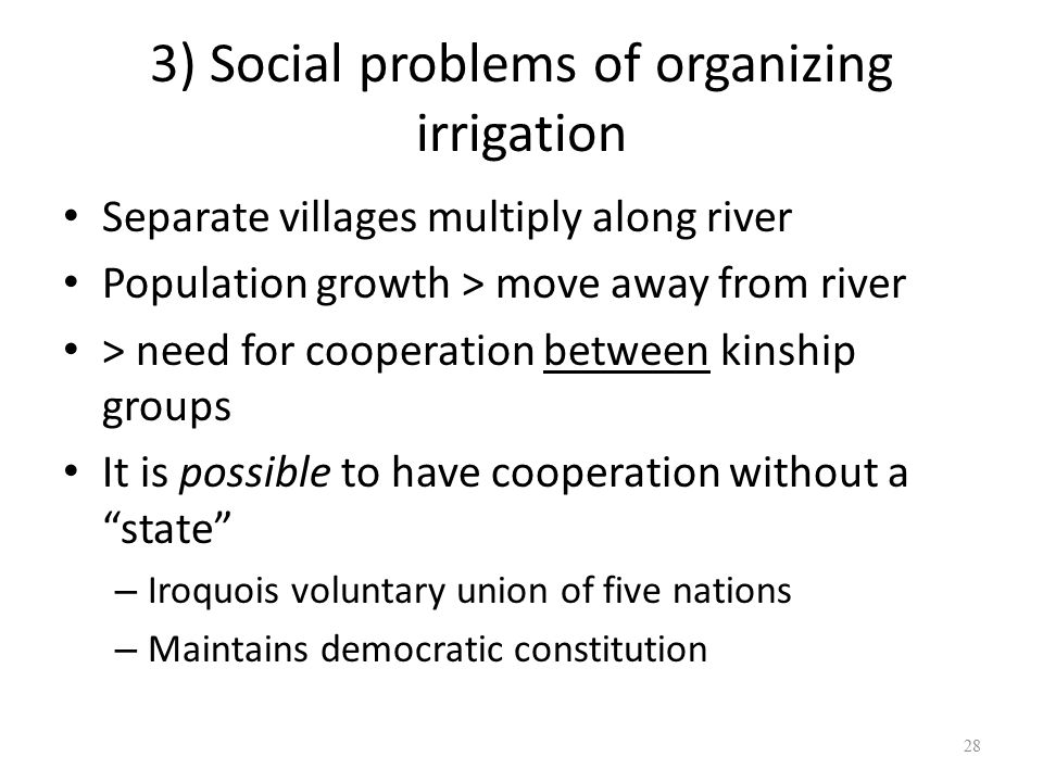 3) Social problems of organizing irrigation Separate villages multiply along river Population growth > move away from river > need for cooperation between kinship groups It is possible to have cooperation without a state – Iroquois voluntary union of five nations – Maintains democratic constitution 28