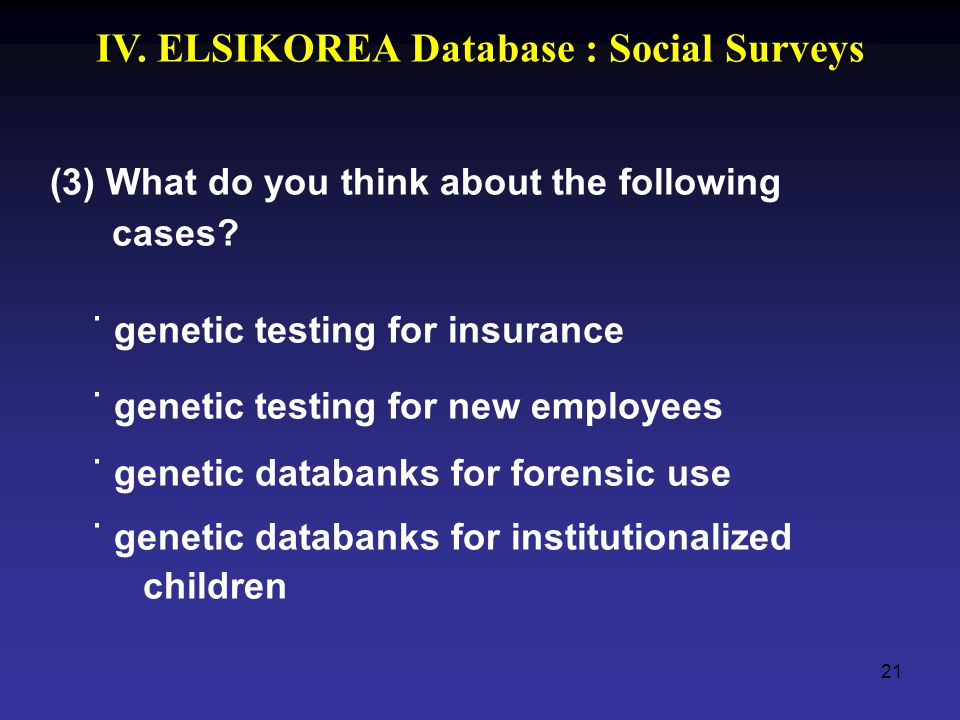 21 (3) What do you think about the following cases? ˙ genetic testing for insurance ˙ genetic testing for new employees ˙ genetic databanks for forens