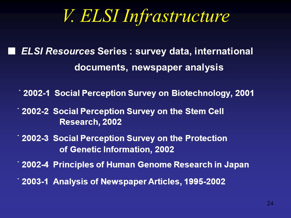 24 ELSI Resources Series : survey data, international  documents, newspaper analysis ˙ 2002-1 Social Perception Survey on Biotechnology, 2001 ˙ 2002-2 Social Perception Survey on the Stem Cell Research, 2002 ˙ 2002-3 Social Perception Survey on the Protection of Genetic Information, 2002 ˙ 2002-4 Principles of Human Genome Research in Japan ˙ 2003-1 Analysis of Newspaper Articles, 1995-2002 V.