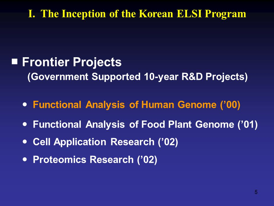 5 ■ Frontier Projects (Government Supported 10-year R&D Projects) Functional Analysis of Human Genome ('00) Functional Analysis of Food Plant Genome ('01) Cell Application Research ('02) Proteomics Research ('02) I.