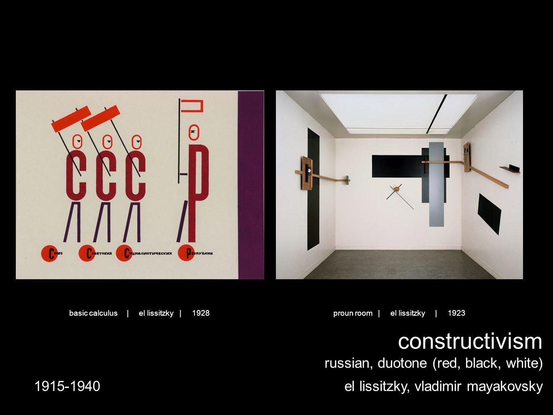 constructivism russian, duotone (red, black, white) el lissitzky, vladimir mayakovsky1915-1940 proun room | el lissitzky | 1923basic calculus | el lissitzky | 1928