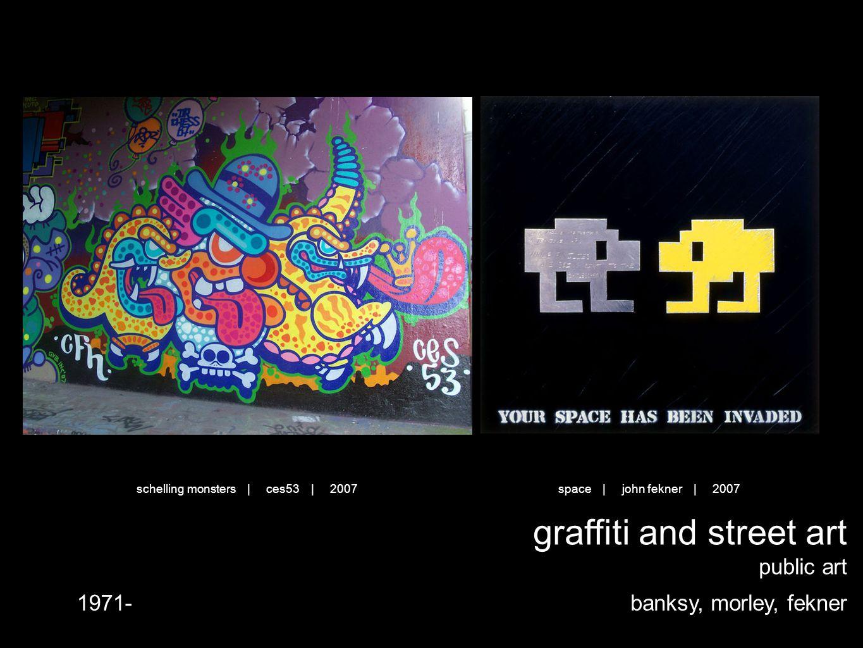 graffiti and street art public art banksy, morley, fekner1971- space | john fekner | 2007schelling monsters | ces53 | 2007