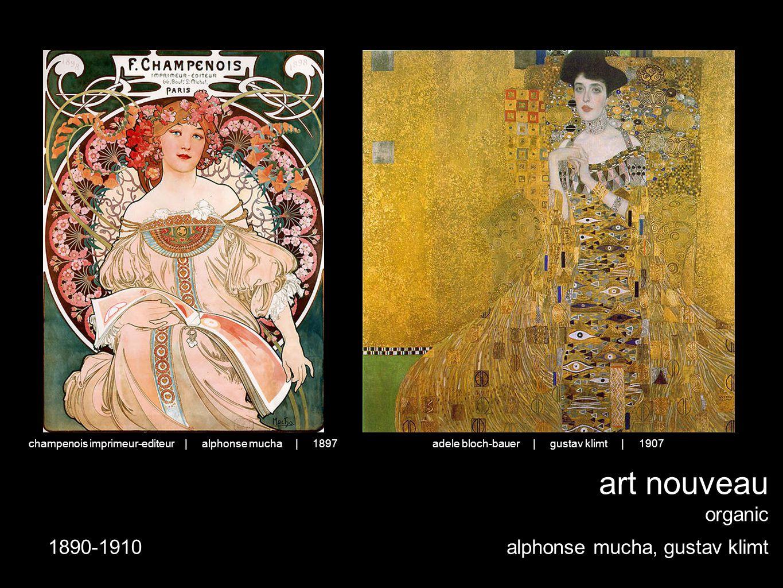 art nouveau organic alphonse mucha, gustav klimt adele bloch-bauer | gustav klimt | 1907champenois imprimeur-editeur | alphonse mucha | 1897 1890-1910