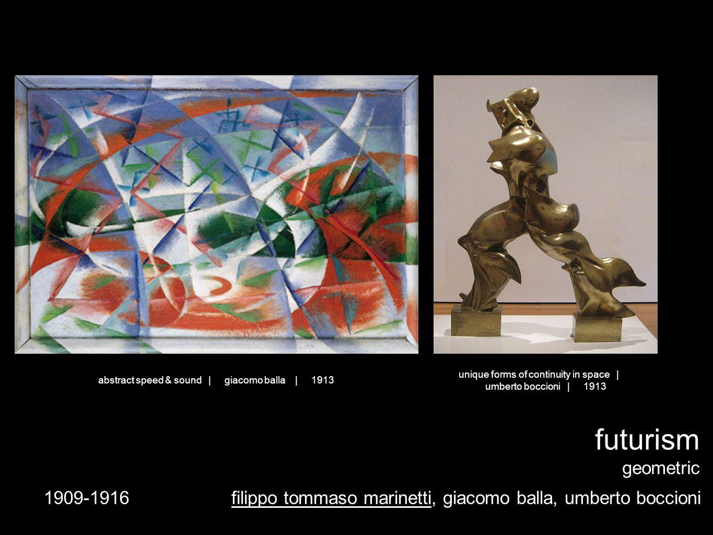 1909-1916 futurism geometric filippo tommaso marinetti, giacomo balla, umberto boccioni unique forms of continuity in space | umberto boccioni | 1913 abstract speed & sound | giacomo balla | 1913