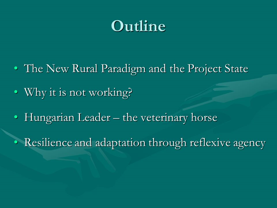 Outline The New Rural Paradigm and the Project StateThe New Rural Paradigm and the Project State Why it is not working Why it is not working.