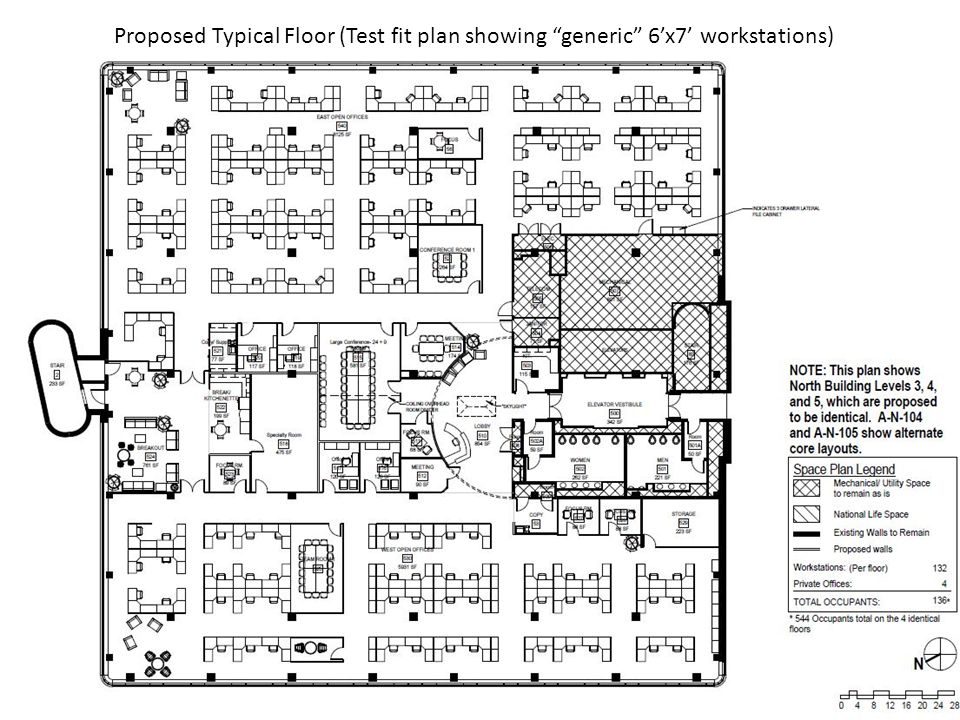 """Proposed Typical Floor (Test fit plan showing """"generic"""" 6'x7' workstations)"""