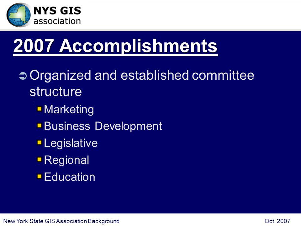 2007 Accomplishments  Organized and established committee structure Marketing Business Development Legislative Regional Education