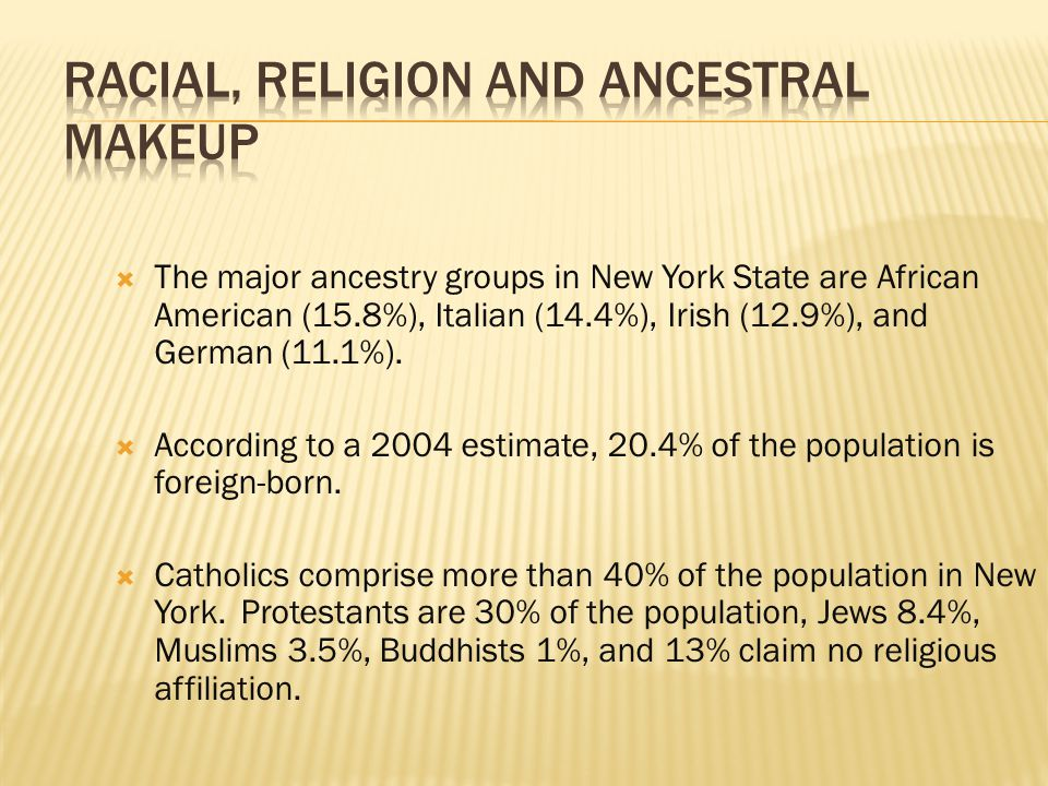  The major ancestry groups in New York State are African American (15.8%), Italian (14.4%), Irish (12.9%), and German (11.1%).
