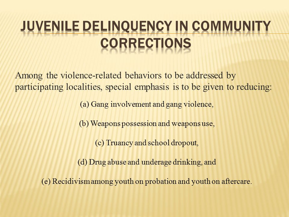 Juvenile Delinquency in Community Corrections