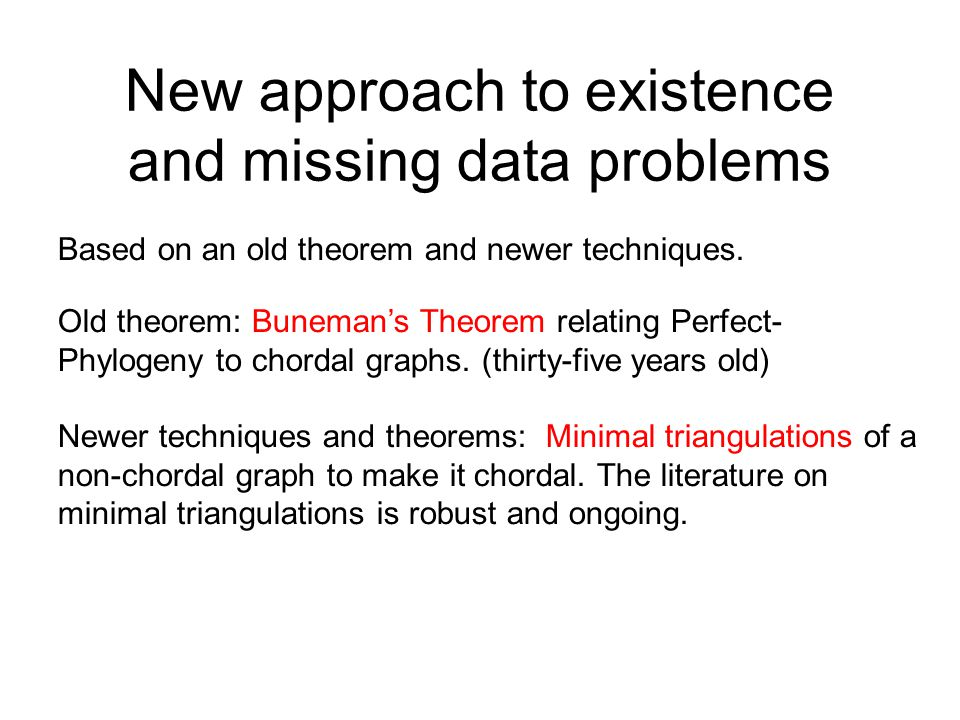 New approach to existence and missing data problems Based on an old theorem and newer techniques. Old theorem: Buneman's Theorem relating Perfect- Phy