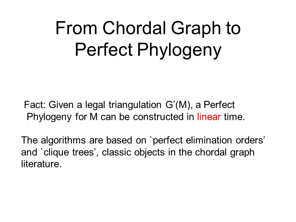 From Chordal Graph to Perfect Phylogeny Fact: Given a legal triangulation G'(M), a Perfect Phylogeny for M can be constructed in linear time.