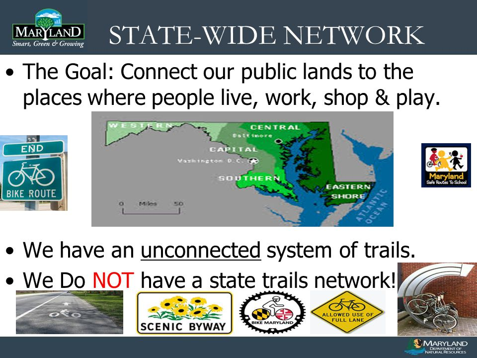 STATE-WIDE NETWORK The Goal: Connect our public lands to the places where people live, work, shop & play.