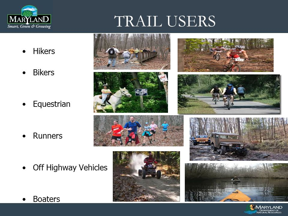 TRAIL USERS Hikers Bikers Equestrian Runners Off Highway Vehicles Boaters