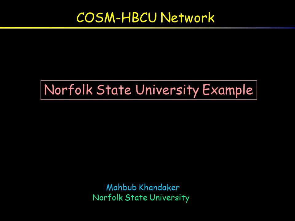 COSM-HBCU Network Mahbub Khandaker Norfolk State University Mahbub Khandaker Norfolk State University Norfolk State University Example