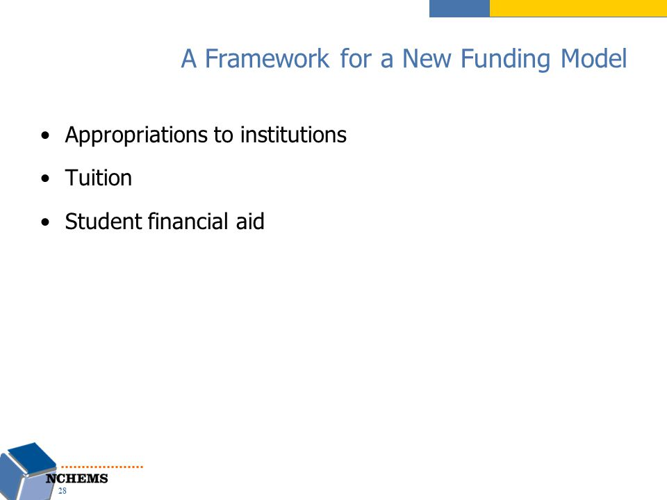 A Framework for a New Funding Model Appropriations to institutions Tuition Student financial aid 28