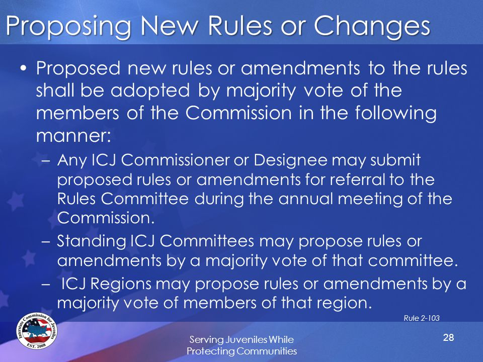 Proposing New Rules or Changes Proposed new rules or amendments to the rules shall be adopted by majority vote of the members of the Commission in the