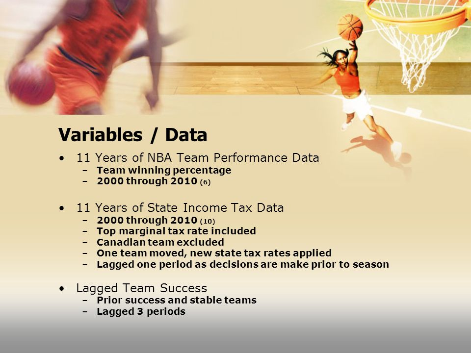 Variables / Data 11 Years of NBA Team Performance Data –Team winning percentage –2000 through 2010 (6) 11 Years of State Income Tax Data –2000 through 2010 (10) –Top marginal tax rate included –Canadian team excluded –One team moved, new state tax rates applied –Lagged one period as decisions are make prior to season Lagged Team Success –Prior success and stable teams –Lagged 3 periods