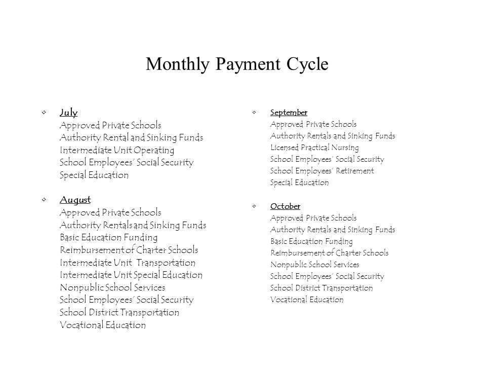 Monthly Payment Cycle November Approved Private Schools Authority Rentals and Sinking Funds Intermediate Unit Special Education School Employees' Social Security Special Education December Approved Private Schools Authority Rentals and Sinking Funds Basic Education Funding Reimbursement of Charter Schools Licensed Practical Nursing Nonpublic Transportation School Employees' Social Security School Employees' Retirement School District Transportation Vocational Education January Approved Private Schools Authority Rentals and Sinking Funds Intermediate Unit Operating Intermediate Unit Transportation School Employees' Social Security Special Education February Approved Private Schools Authority Rentals and Sinking Funds Basic Education Funding Reimbursement of Charter Schools Nonpublic School Services School Employees' Social Security School Performance Incentives Technology for Nonpublic Schools Vocational Education