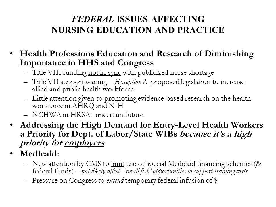 FEDERAL ISSUES AFFECTING NURSING EDUCATION AND PRACTICE Health Professions Education and Research of Diminishing Importance in HHS and Congress –Title
