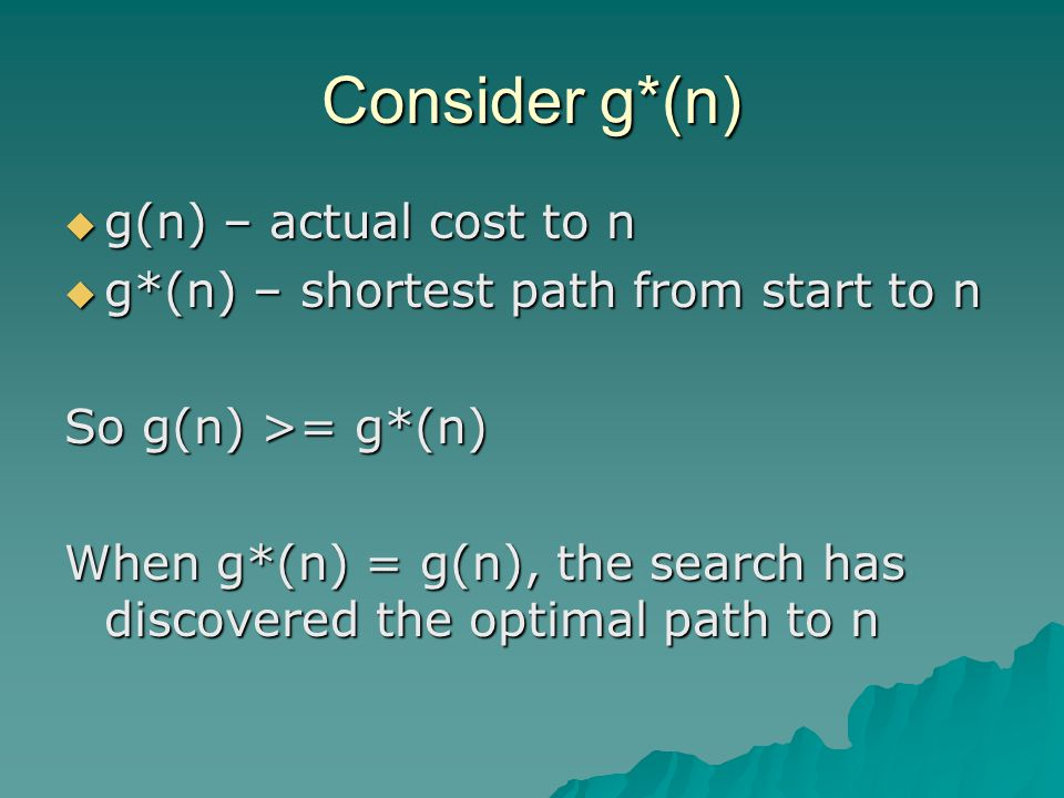 Consider g*(n)  g(n) – actual cost to n  g*(n) – shortest path from start to n So g(n) >= g*(n) When g*(n) = g(n), the search has discovered the optimal path to n