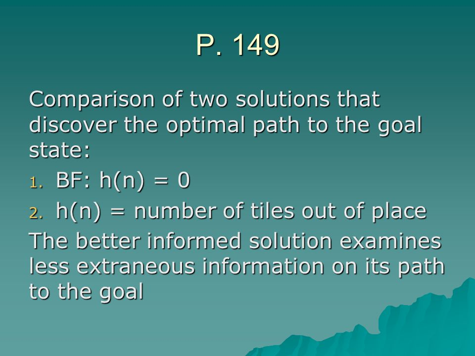 P. 149 Comparison of two solutions that discover the optimal path to the goal state: 1.
