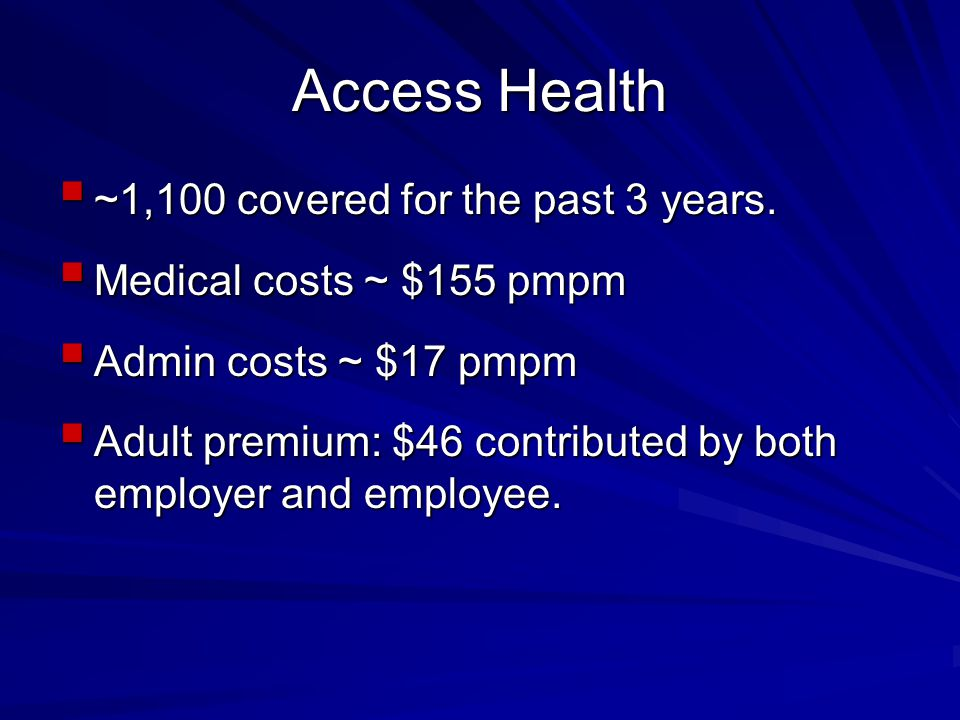 Access Health  ~1,100 covered for the past 3 years.
