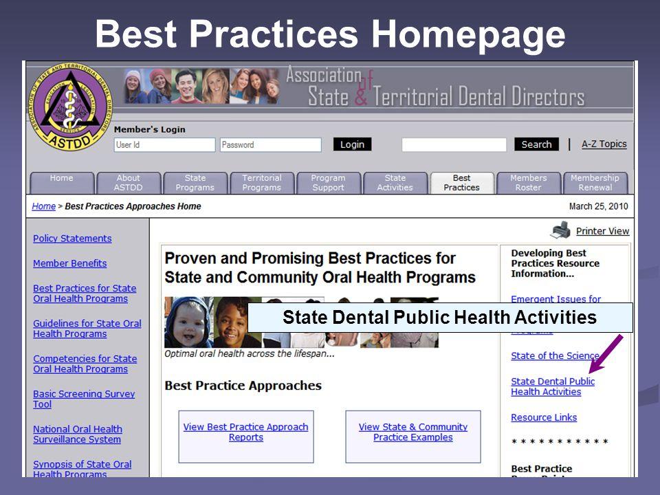 Best Practices Homepage State Dental Public Health Activities