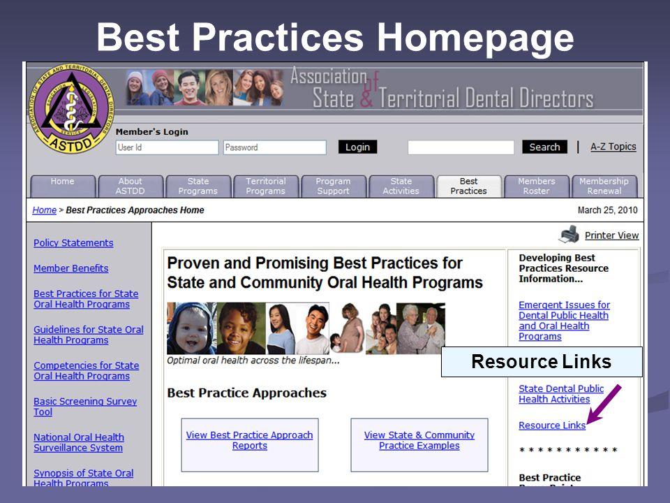 Best Practices Homepage Resource Links