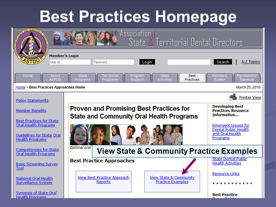 Best Practices Homepage View State & Community Practice Examples