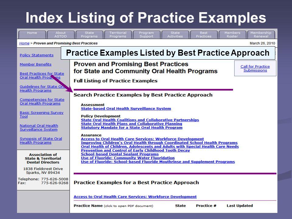 Successful Practice Descriptions Nevada's State Oral Health Plan