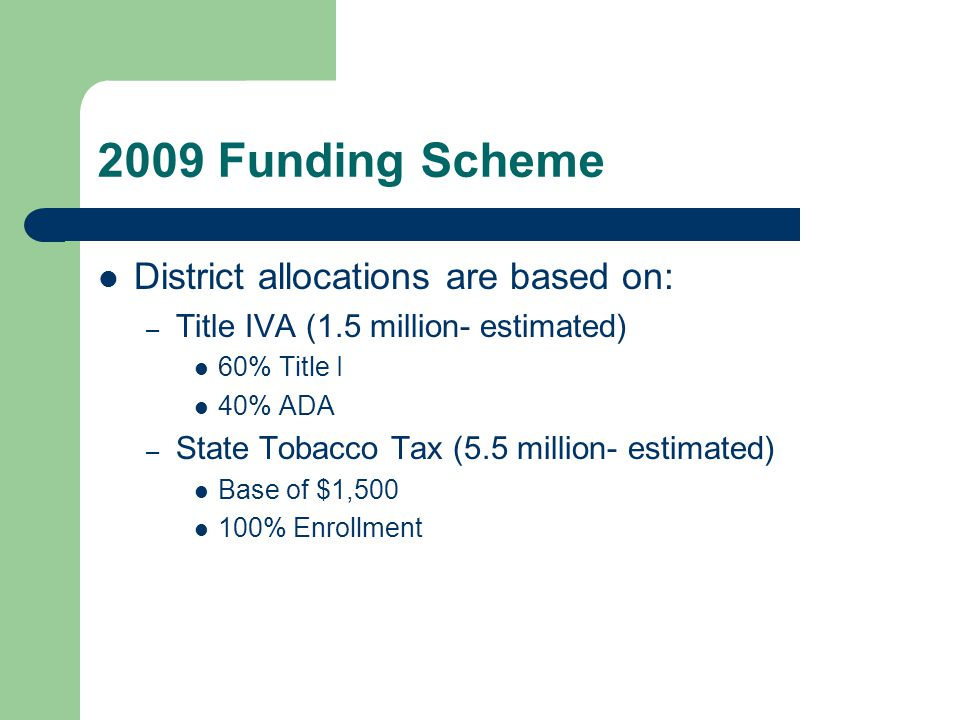 2009 Funding Scheme District allocations are based on: – Title IVA (1.5 million- estimated) 60% Title I 40% ADA – State Tobacco Tax (5.5 million- esti