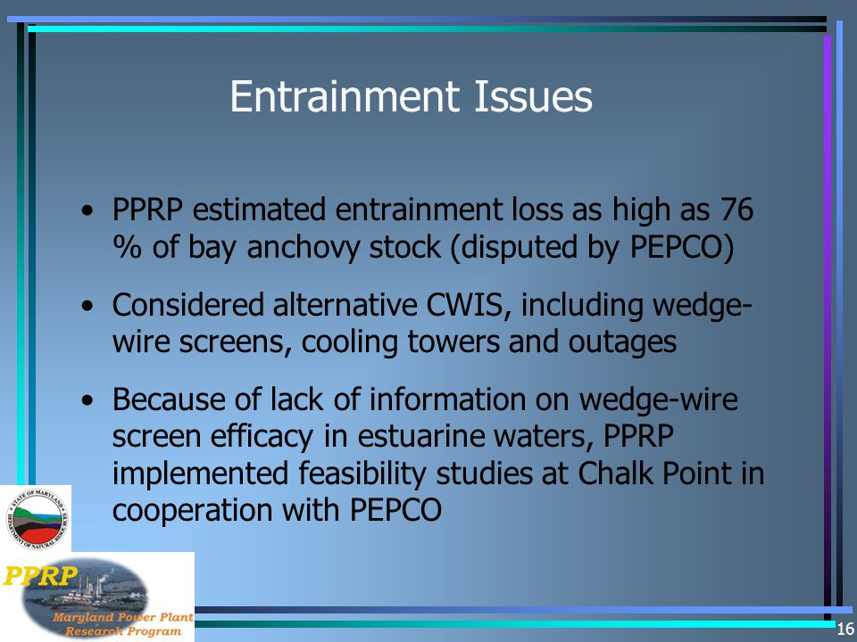 16 Entrainment Issues PPRP estimated entrainment loss as high as 76 % of bay anchovy stock (disputed by PEPCO) Considered alternative CWIS, including