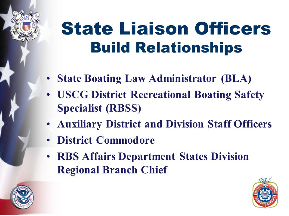 State Liaison Officers Build Relationships State Boating Law Administrator (BLA) USCG District Recreational Boating Safety Specialist (RBSS) Auxiliary District and Division Staff Officers District Commodore RBS Affairs Department States Division Regional Branch Chief
