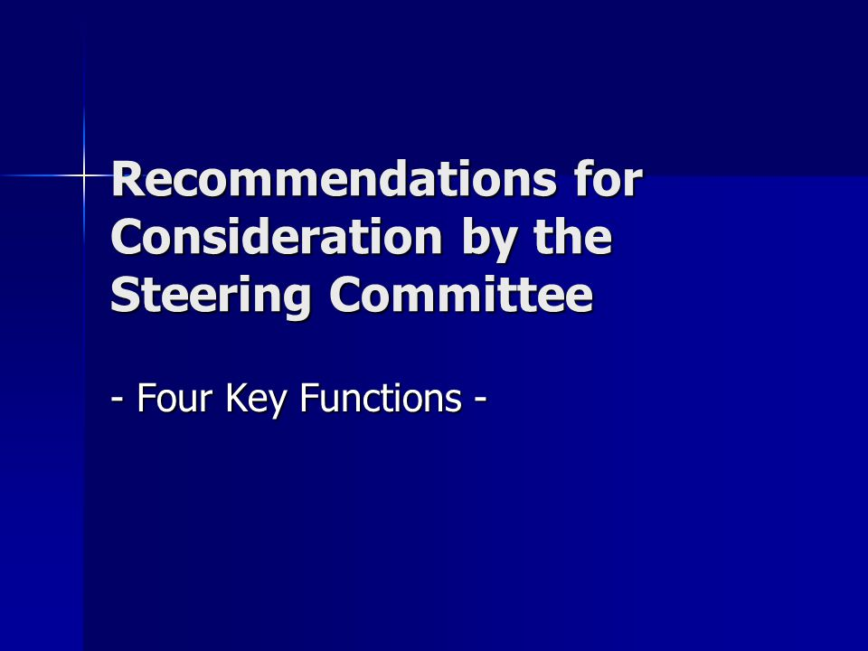 Recommendations for Consideration by the Steering Committee - Four Key Functions -