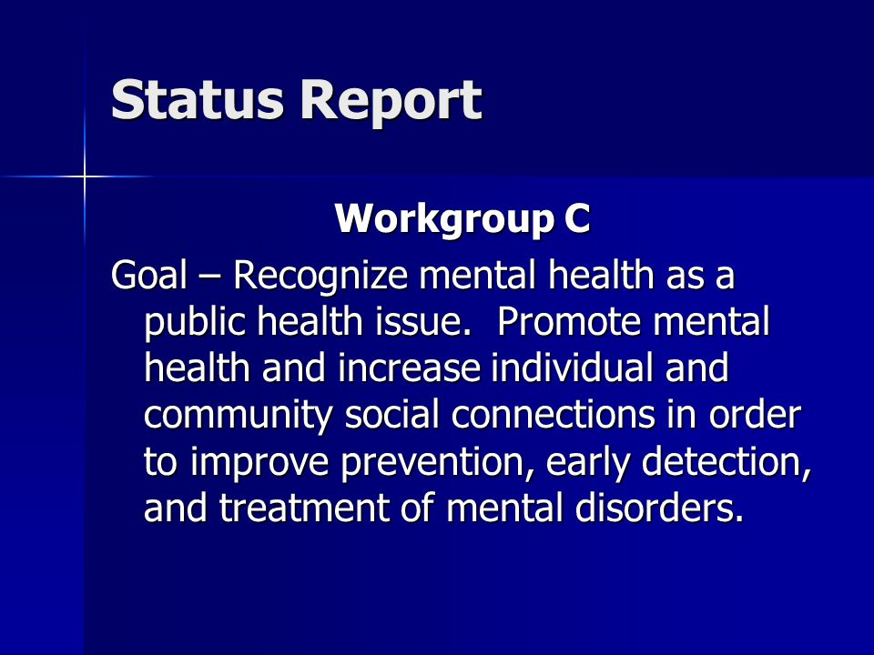 Progress (cont.) December – No Meeting 2004 January – Executive Workgroup responded to requests from Executive Commissioner Hawkins and Commissioner Sanchez to begin work on mental health system recommendations and to lead the workgroup members in taking actions that will result in improvements in health status of the Public Mental Health System.