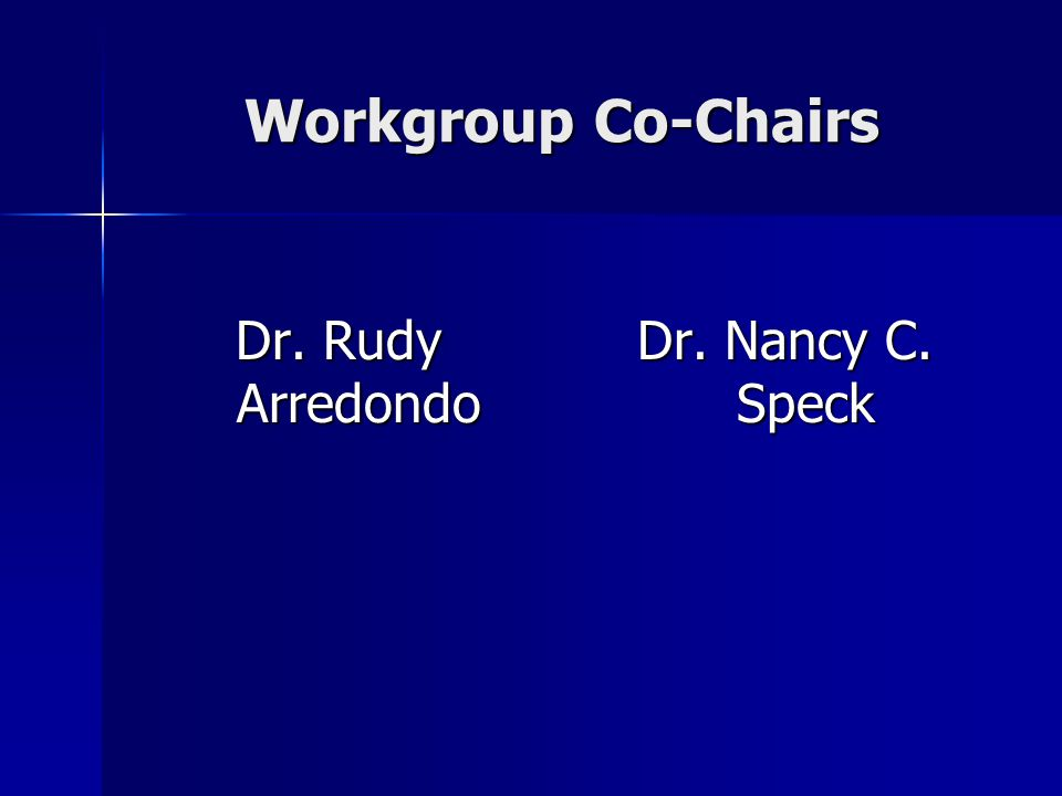 Workgroup Co-Chairs Dr. Rudy Arredondo Dr. Nancy C. Speck