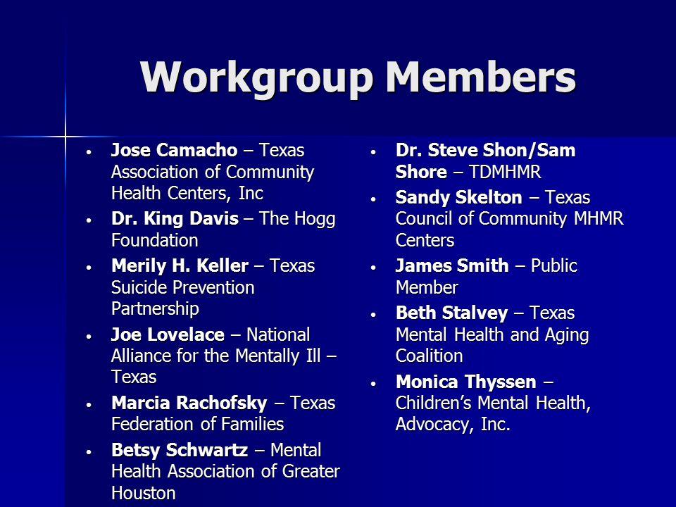 Workgroup Liaisons TomValentineHealth&HumanServicesCommissionRickDankoTexasDepartment of Health DaveWanserTCADACamilleMillerTexasStateStrategicHealth Partnership PartnershipSteering Committee Committee