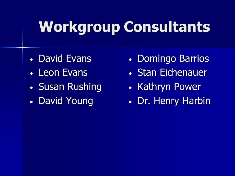 Workgroup Consultants David Evans David Evans Leon Evans Leon Evans Susan Rushing Susan Rushing David Young David Young Domingo Barrios Domingo Barrios Stan Eichenauer Stan Eichenauer Kathryn Power Kathryn Power Dr.