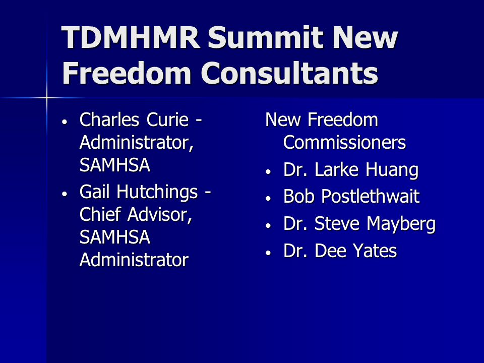 TDMHMR Summit New Freedom Consultants Charles Curie - Administrator, SAMHSA Charles Curie - Administrator, SAMHSA Gail Hutchings - Chief Advisor, SAMHSA Administrator Gail Hutchings - Chief Advisor, SAMHSA Administrator New Freedom Commissioners Dr.