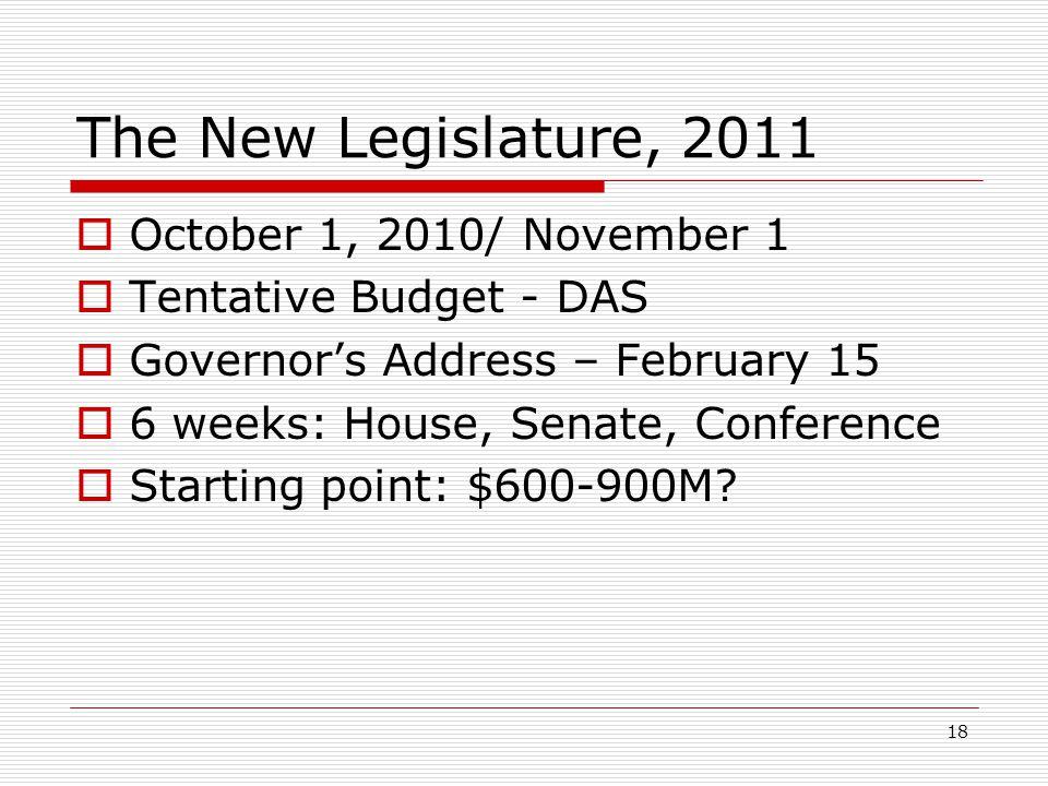18 The New Legislature, 2011  October 1, 2010/ November 1  Tentative Budget - DAS  Governor's Address – February 15  6 weeks: House, Senate, Confe