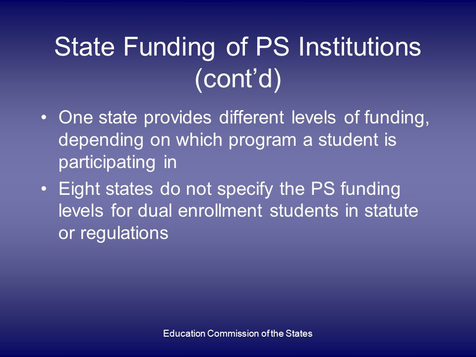 Education Commission of the States Recommended feature: Students/Parents Must Be Notified of Dual Enrollment Opportunities Yes = 20 states No = 25 states Not Specified = 1 state