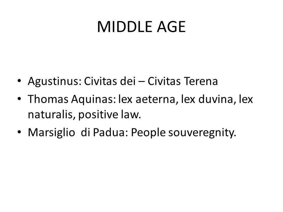 MIDDLE AGE Agustinus: Civitas dei – Civitas Terena Thomas Aquinas: lex aeterna, lex duvina, lex naturalis, positive law.