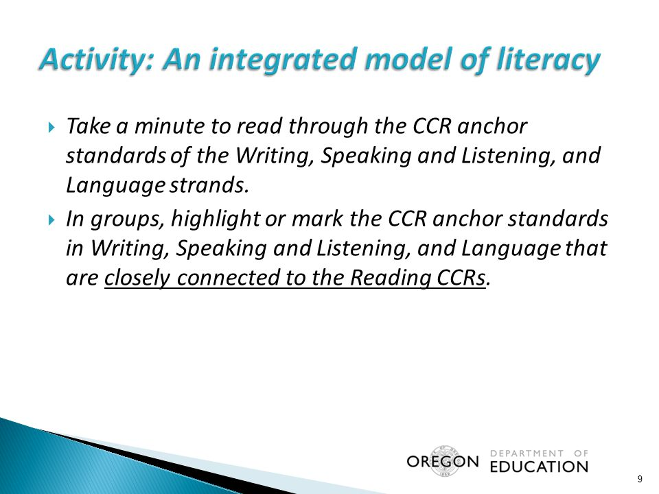  Take a minute to read through the CCR anchor standards of the Writing, Speaking and Listening, and Language strands.