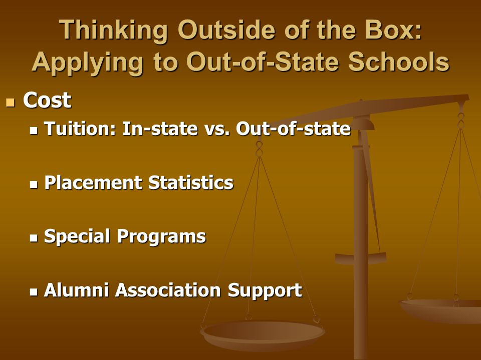 Thinking Outside of the Box: Applying to Out-of-State Schools Evaluating Law School Programs Evaluating Law School Programs Clinics Clinics Law Journals & Publications Law Journals & Publications Special Programs Special Programs Joint Degrees Joint Degrees