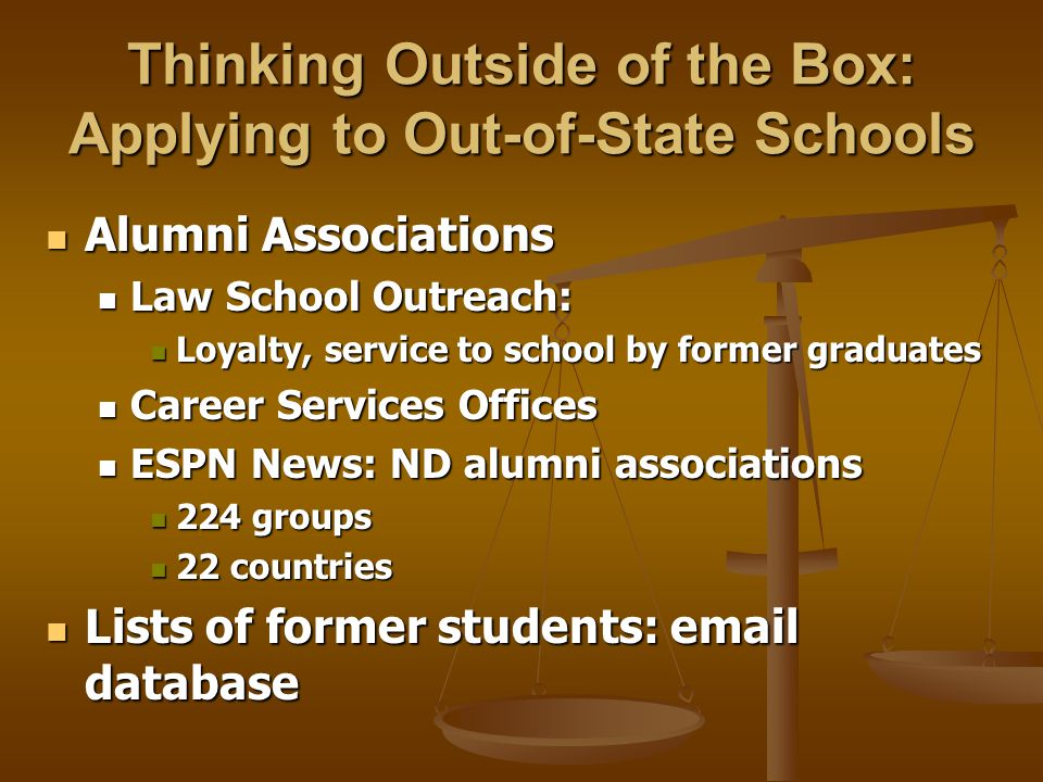 Thinking Outside of the Box: Applying to Out-of-State Schools Alumni Associations Alumni Associations Law School Outreach: Law School Outreach: Loyalty, service to school by former graduates Loyalty, service to school by former graduates Career Services Offices Career Services Offices ESPN News: ND alumni associations ESPN News: ND alumni associations 224 groups 224 groups 22 countries 22 countries Lists of former students: email database Lists of former students: email database