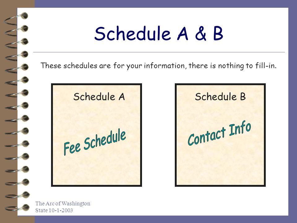 The Arc of Washington State 10-1-2003 Schedule A & B Schedule ASchedule B These schedules are for your information, there is nothing to fill-in.