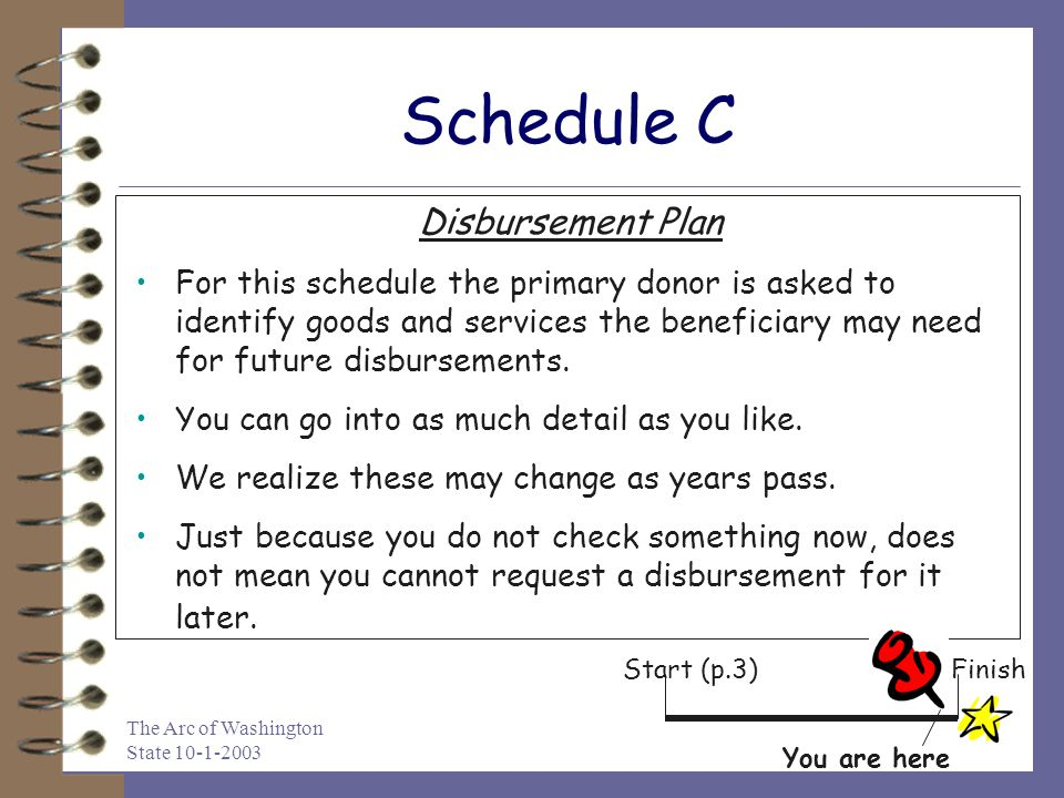 The Arc of Washington State 10-1-2003 Schedule C Disbursement Plan For this schedule the primary donor is asked to identify goods and services the ben